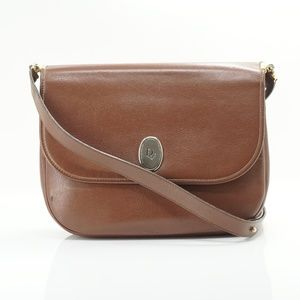 Auth Dior Brown Leather Bag Vtg #806O54